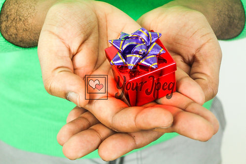 Male Hands holding small gift