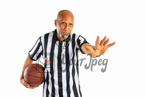 Male referee holding hand up