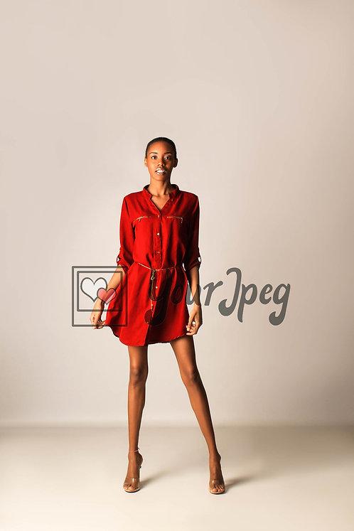 Model Posing While Holding Dress