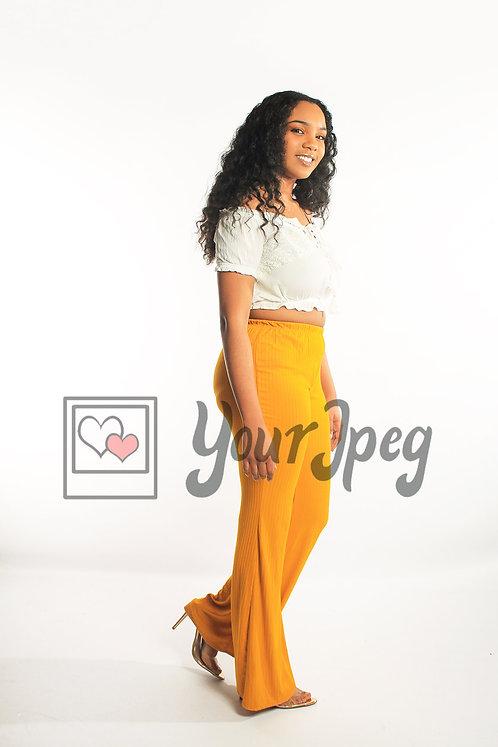 Woman in yellow pants walking (2)