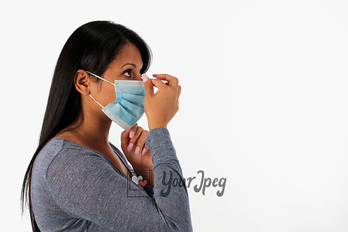 Woman Adjusting Mask Nose Area Side View #2