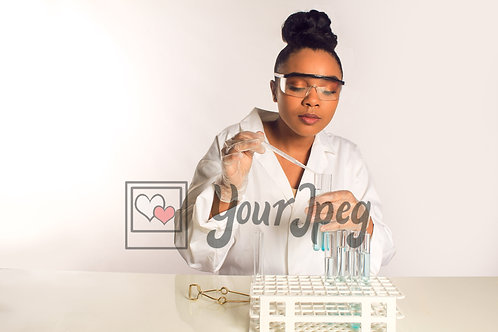 Female scientist working with the liquid samples