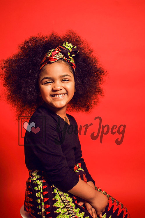 Girl smiling with puffy hair