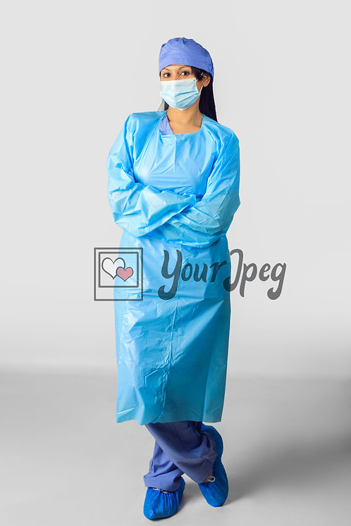 Female Nurse In Protective Equipment With Legs and Arms Crossed