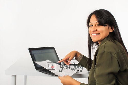 Woman Pointing At Laptop Screen While Smiling #2