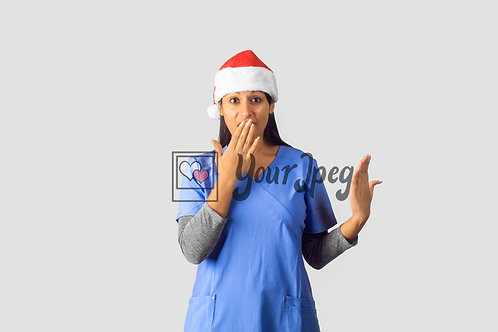 Female Nurse Wearing Christmas Hat With Hand Over Mouth Surprised