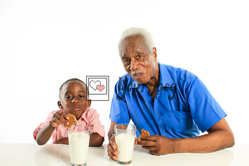 Grandpa and Grandson Eating Cookies and Drinking Milk #2