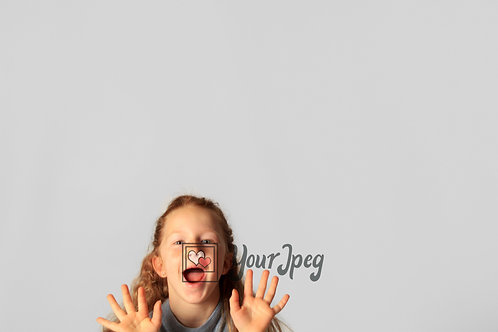 Young Girl Excited Holding Up Hands Close Up