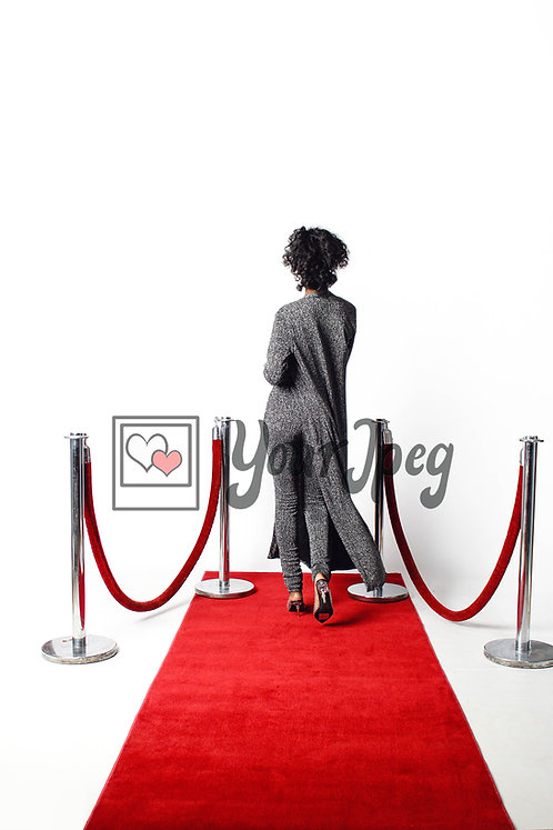 Woman Posing On Red Carpet From Behind