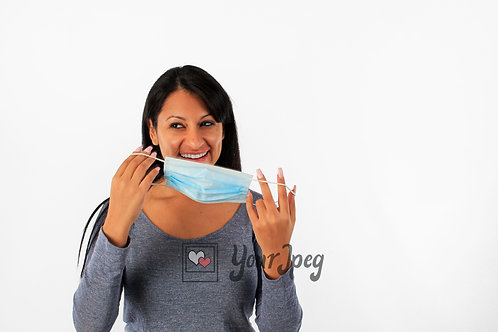 Woman Smiling While Putting On Mask Front Angle #2