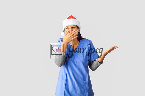 Female Nurse Wearing Christmas Hat With Hand Over Mouth