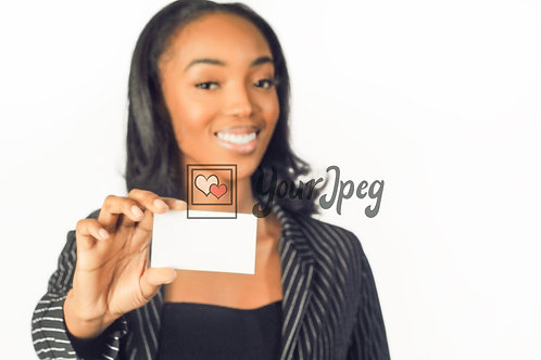 Woman In Suit Holding Up White Card Smiling #2