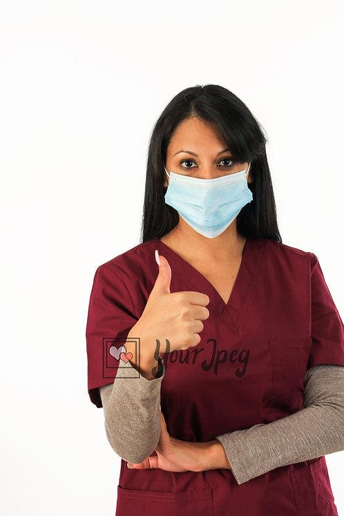 Female Nurse Thumbs Up