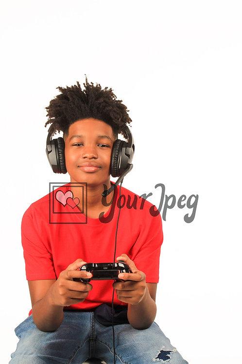 Teen Boy Playing Video Game
