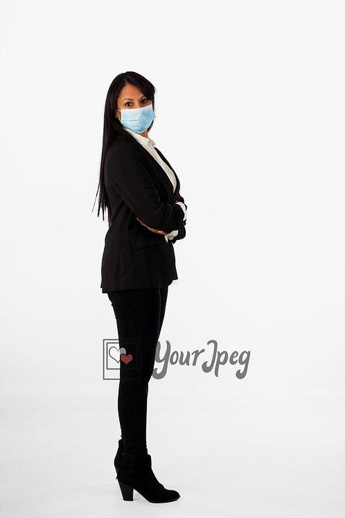 Woman In Suit Wearing Mask Full Body