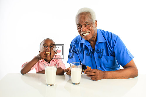 Grandpa and Grandson Eating Cookies and Drinking Milk #3