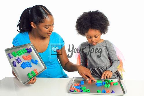 Mother Teaching Daughter Alphabets #2