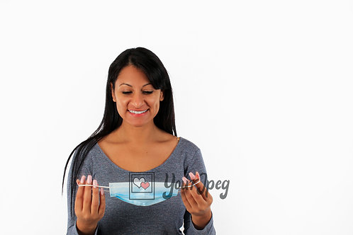 Woman Smiling While Putting On Mask Front Angle