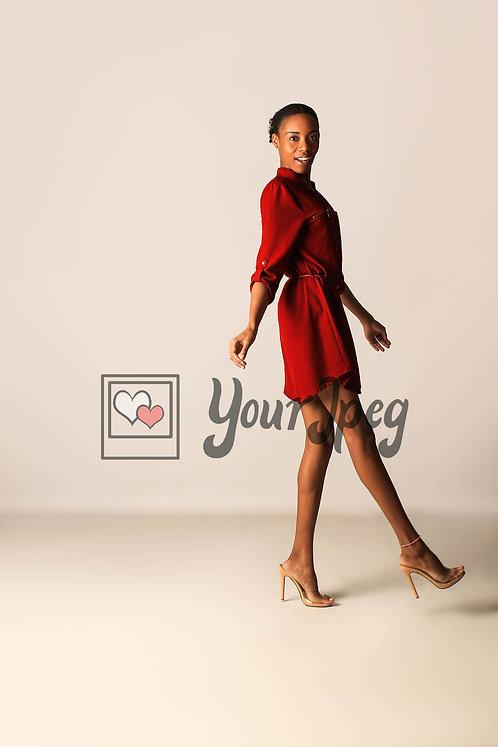 Model Posing While Kicking Foot