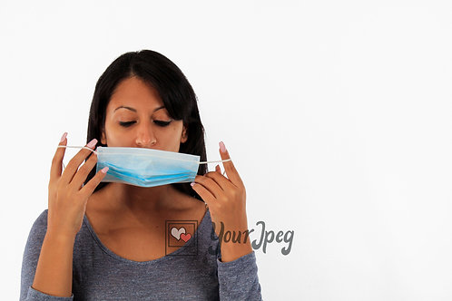 Woman Putting On Mask Front Angle