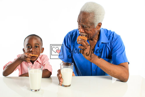 Grandpa and Grandson Eating Cookies and Drinking Milk #4