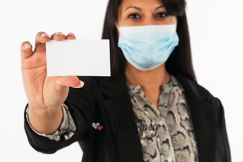 Woman Wearing Mask Holding Blank Business Card