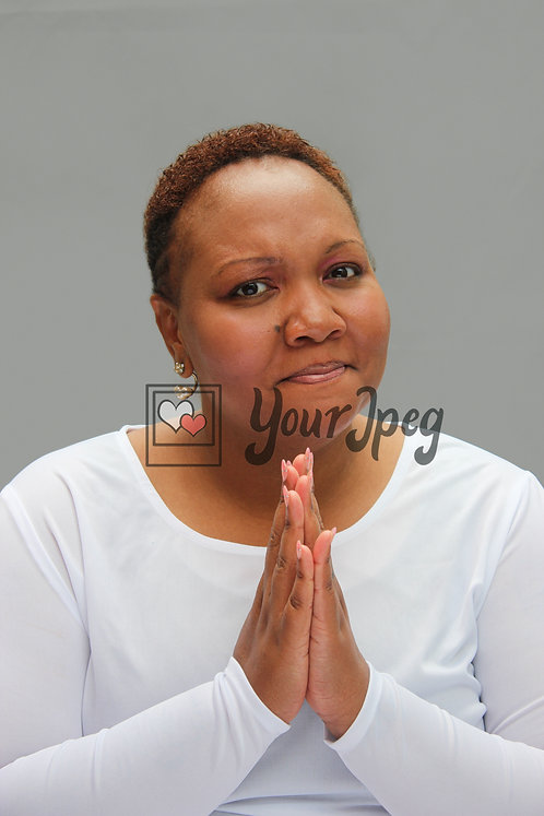 Woman hands together in prayer