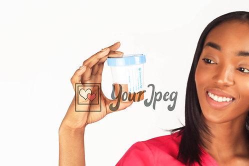 Female Nurse Viewing Urine Sample