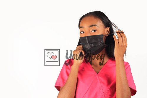 Female Nurse Taking Face Mask Off Ear