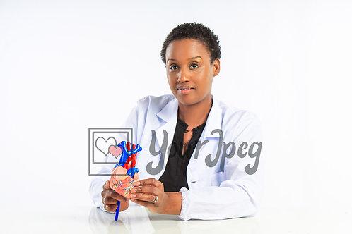 Female doctor holding heart model
