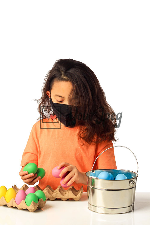 Girl Playing With Easter Eggs While Wearing Black Mask #1