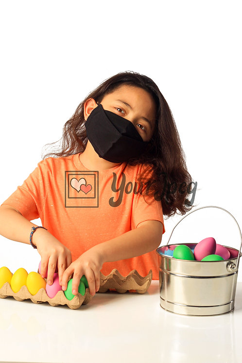 Girl Playing With Easter Eggs While Wearing Black Mask #4