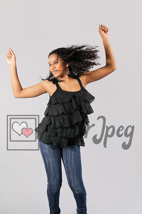 Tween girl dancing hair flowing