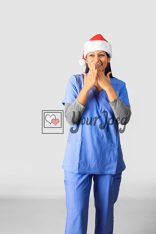 Female Nurse Wearing Christmas Hat With Hands Over Mouth #1