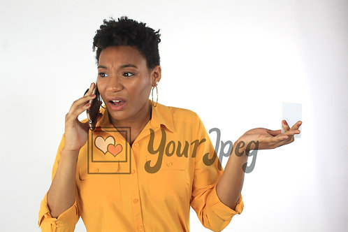 Woman on phone upset about insurance card