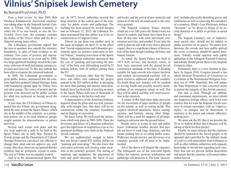 World Leaders Move to Protect Snipisek Jewish Cemetery in Vilnius, Lithuania