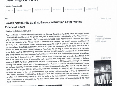 Jewish Community Opposes Reconstruction of Vilnius Palace of Sport