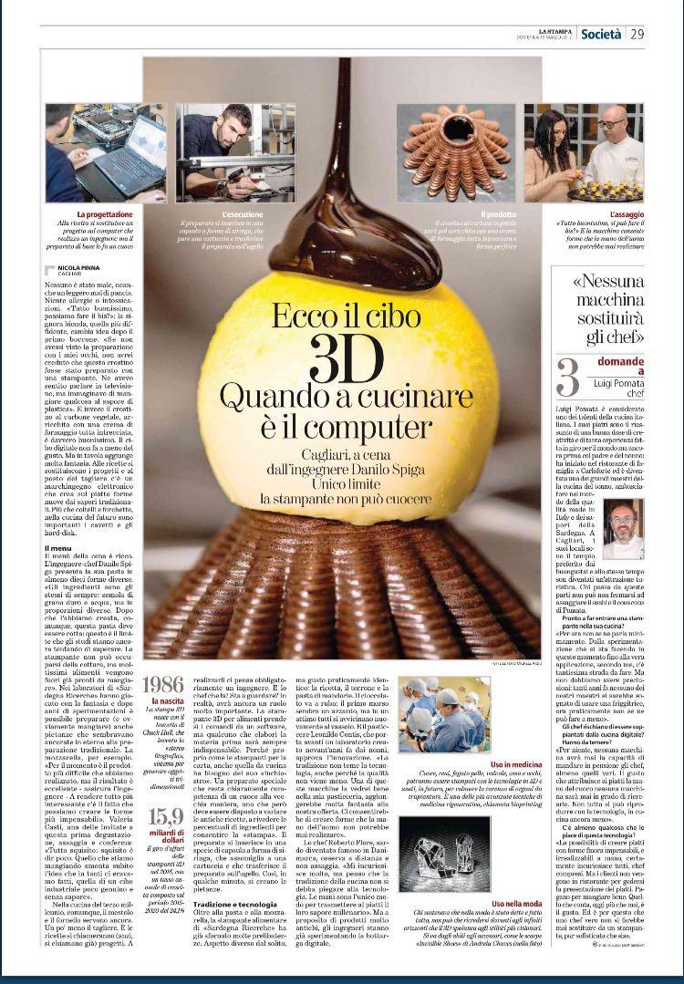 Il cibo 3D. Leonildo Contis su La Stampa di Torino