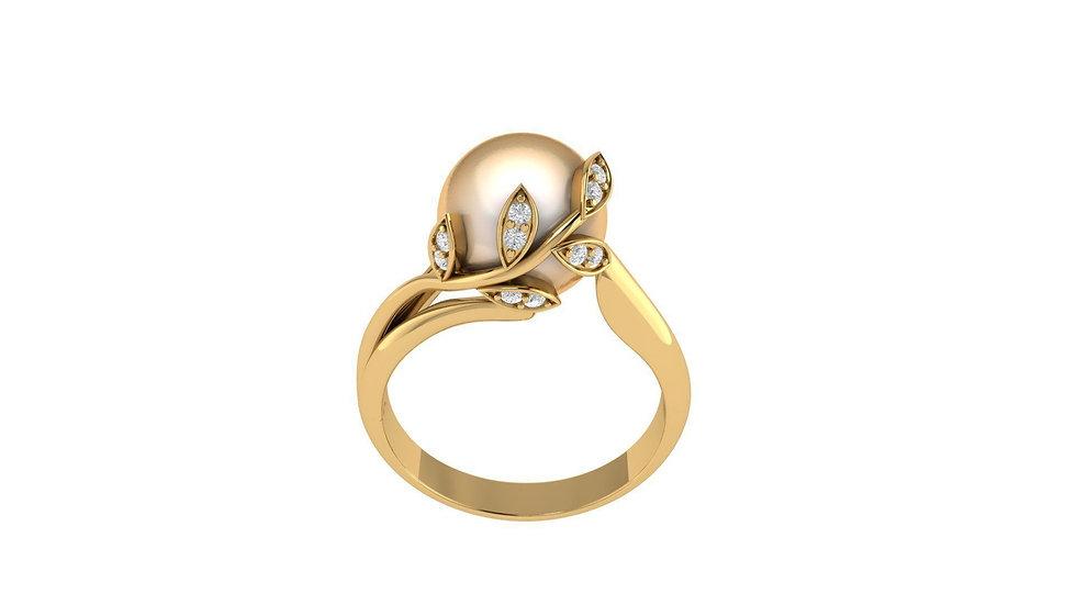 Zásnubný briliantový prsteň s morskou perlou