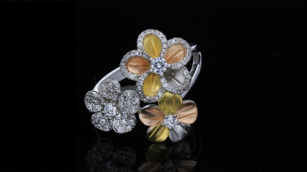 Strieborný prsteň pozlatený