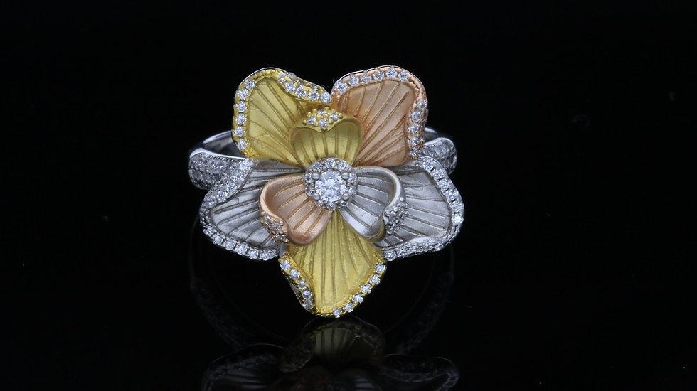 Strieborný prsteň pozlátený