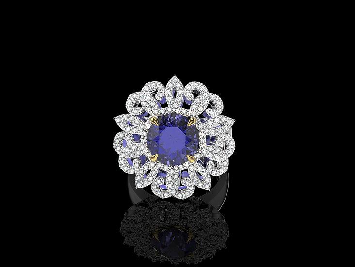 Briliantový prsten s prírodným tanzanitom
