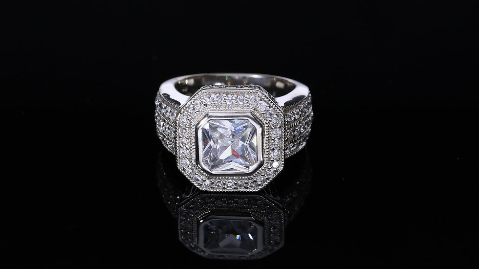 Brilantný UNISEX strieborný prsteň