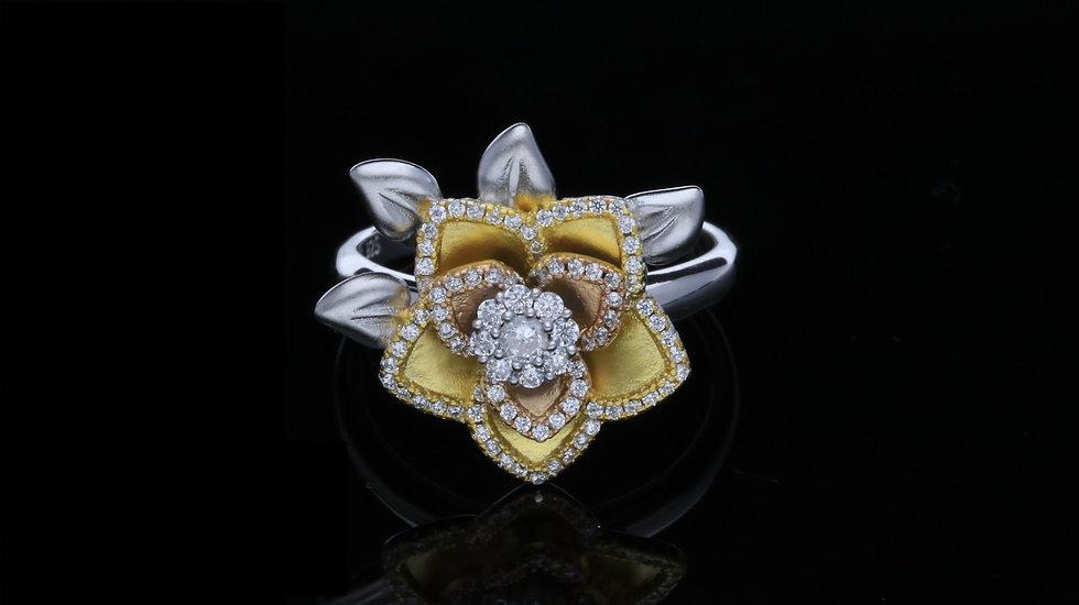 Striebrný prsteň pozlátený