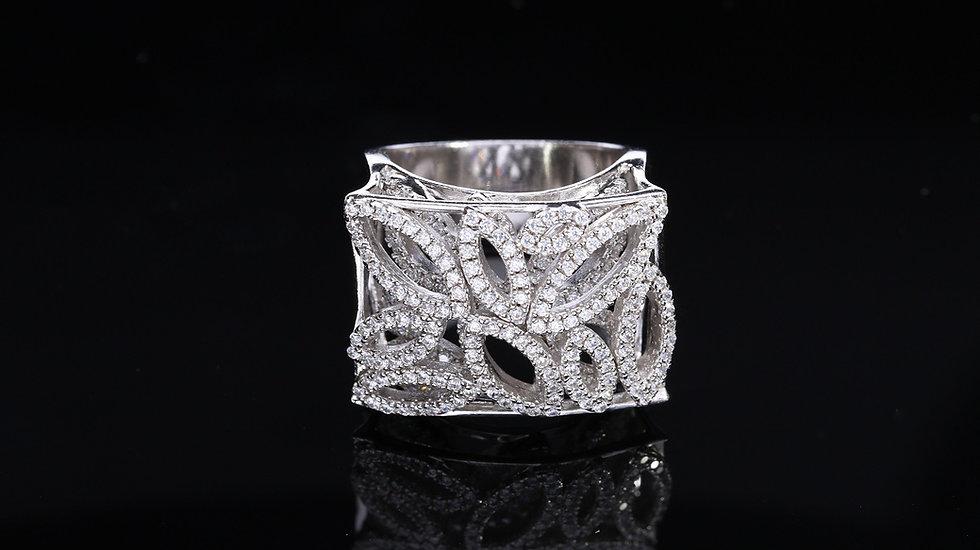 Brilantný dvojposchodový dámsky strieborný prsteň
