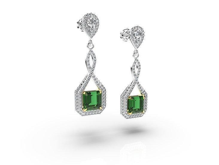 Smaragdovo briliantové náušnice