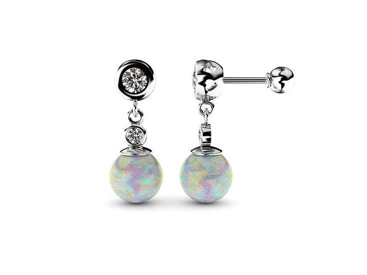 Brilianatové náušnice s perlou alebo opálom