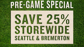 12.13.20, PRE-GAME SPECIAL • 25% 0FF STOREWIDE ° OPEN TO 1 PM – GO HAWKS!
