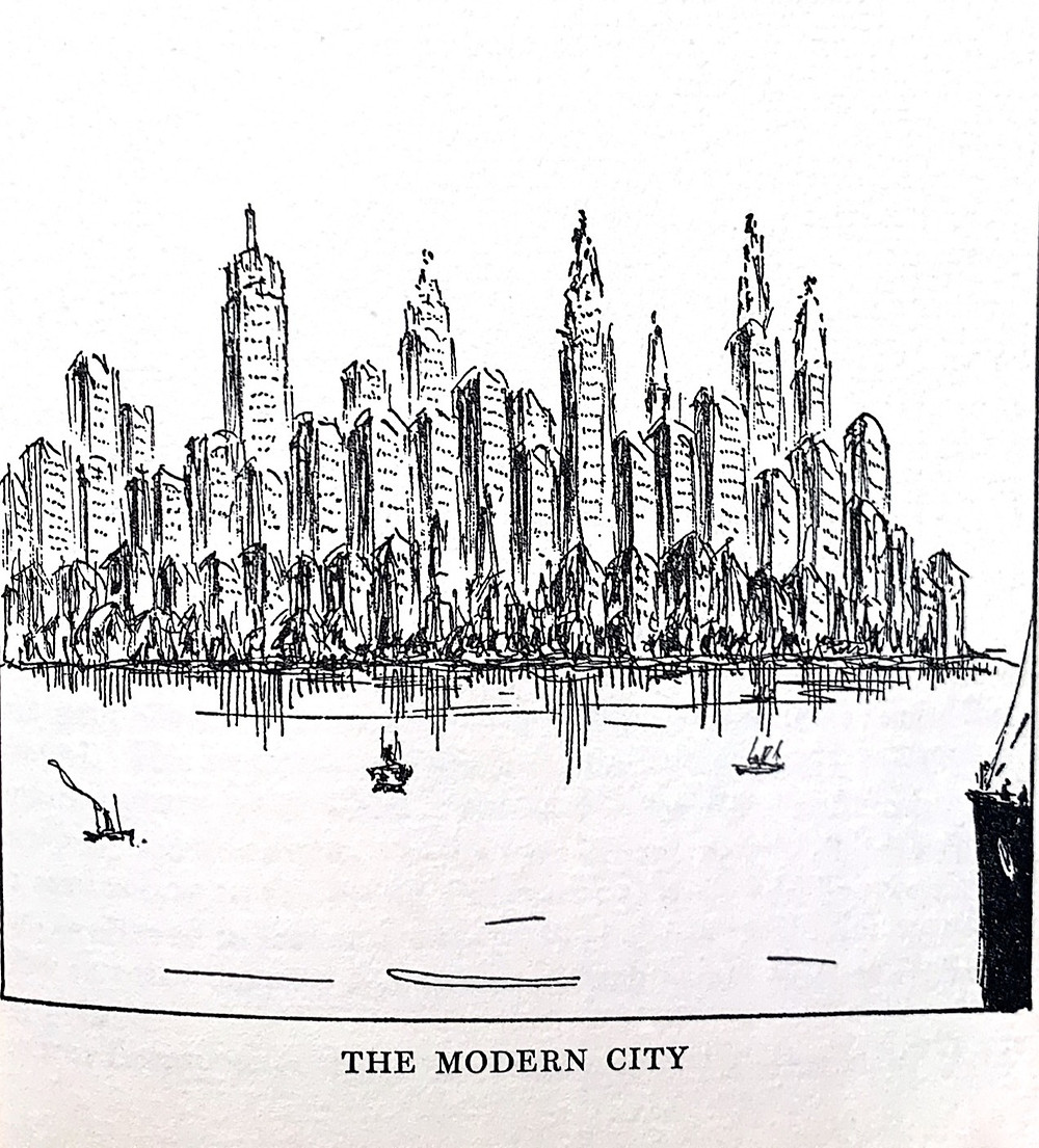 The Modern City line drawing