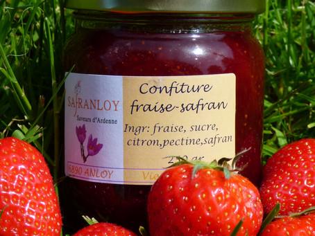 Avec l'arrivée des fraises Belge, la confiture fraise-safran est à nouveau disponible. Profitez-